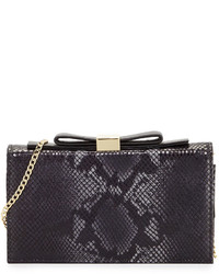 Chloé Chloe Nora Snake Embossed Leather Clutch Bag Black