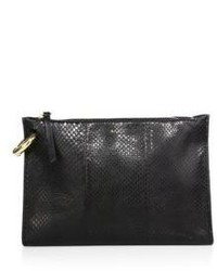 A.L.C. Joni Snakeskin Embossed Leather Clutch