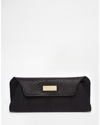 Lipsy Clutch In Black Snake With Magnetic Fastening