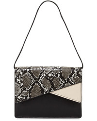 French Connection Remy Snake Embossed Clutch Bag Blackwhite