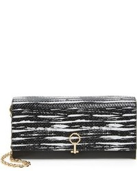 Louise et Cie Yvet Leather Flap Clutch Black