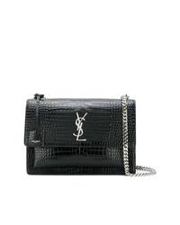 Saint Laurent Black Croc Sunset Monogram Leather Shoulder Bag