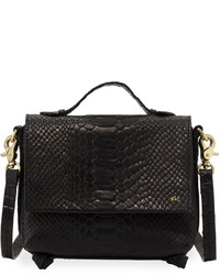 Foley + Corinna Gigi Snake Embossed Leather Flap Crossbody Bag Black