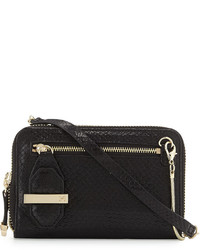 Halston Heritage Snakeskin Embossed Crossbody Bag Black