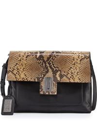 Badgley Mischka Janine Snake Embossed Leather Crossbody Bag Black