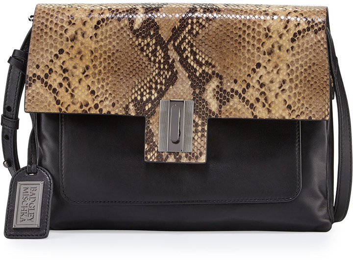 Badgley Mischka Janine Snake Embossed Leather Crossbody Bag Black