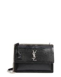 Saint Laurent Large Sunset Croc Embossed Leather Shoulder Bag