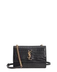 Saint Laurent Small Sunset Croc Embossed Leather Shoulder Bag
