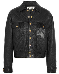 Saint Laurent Python Trimmed Quilted Leather Jacket Black