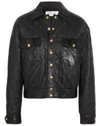 Saint Laurent Python Trimmed Quilted Leather Jacket Black