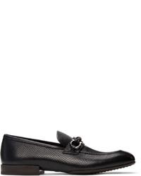 Salvatore Ferragamo Black Snake Gancini Moccasin Loafers