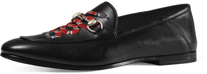 1912418a5c6 ... Leather Loafers Gucci Brixton Snake Fold Back Loafer Black ...