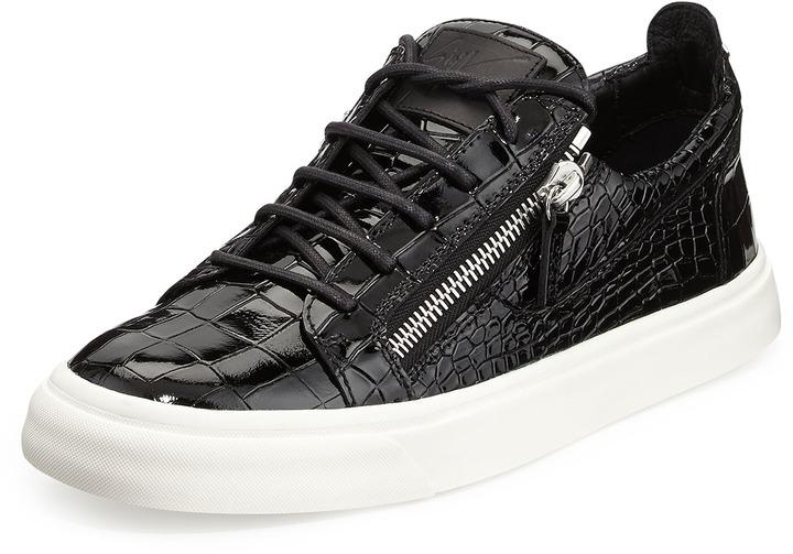 Black Patent Croc Shoes