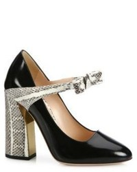 Gucci Nimue Bow Patent Leather Snakeskin Mary Jane Block Heel Pumps