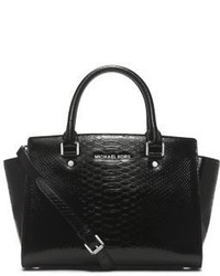 Black Snake Leather Satchel Bag
