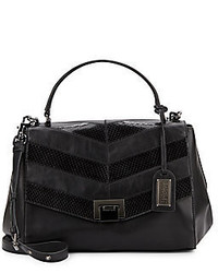 Badgley Mischka Remy Smooth Snake Embossed Leather Satchel