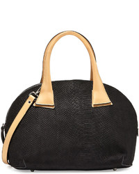 Neiman Marcus Snake Embossed Dome Satchel Bag Black