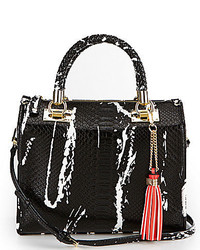 Gianni Bini Tasseled Braided Handle Snake Satchel