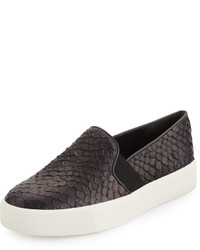 Vince Berlin Snake Embossed Slip On Sneaker Black