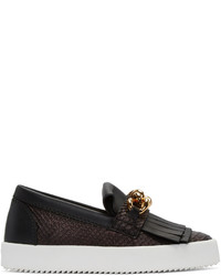 Giuseppe Zanotti Black Python Embossed London Slip On Sneakers