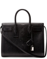 Black Snake Leather Tote Bag