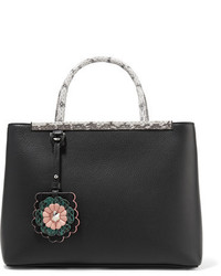 2jours python trimmed textured leather shopper black medium 5363730