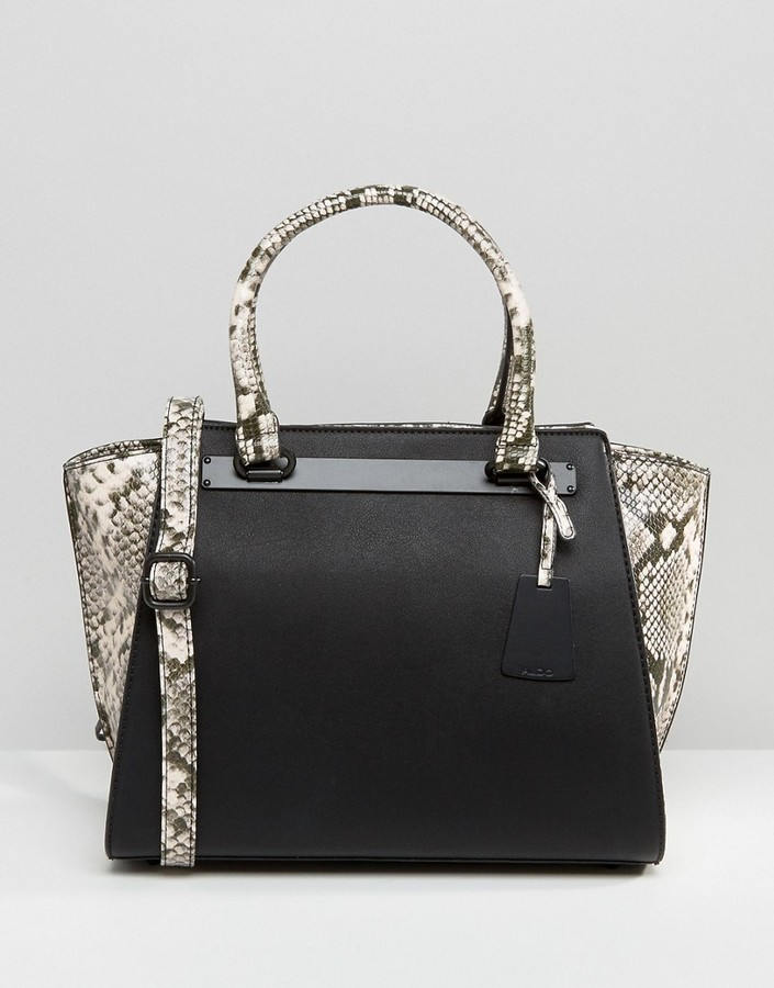 8bb8cdc337d ... Leather Tote Bags Aldo Faux Snakeskin Panel Tote Bag ...