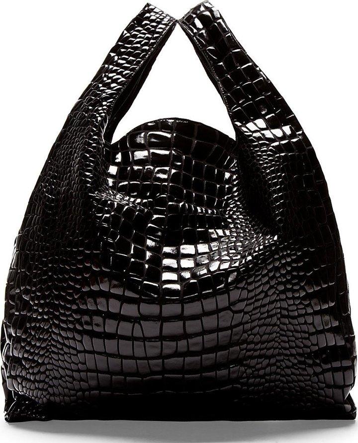 Maison Martin Margiela Mm6 Black Croc Embossed Tote Bag