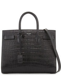 Saint Laurent Sac De Jour Small Croc Embossed Leather Tote Bag Black