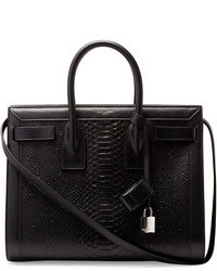 Saint Laurent Sac De Jour Small Python Stamped Tote Bag Black