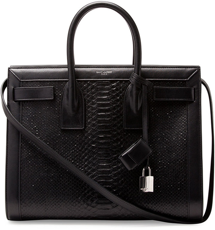 Sac De Jour Small Python Stamped Tote Bag Black