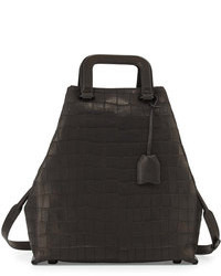 3.1 Phillip Lim Wednesday Croc Embossed Tote Bag Black