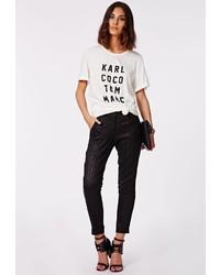 Missguided Karis Snake Brocade Trousers Black