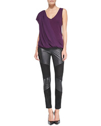 Ramy Brook Roman Leather Suede Jersey Pants