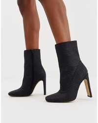 Missguided Square Toe Faux Suede Ankle Boot In Black Snake