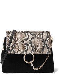 Chloé Faye Medium Python Suede And Leather Shoulder Bag Black
