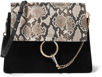 71f4734334 ... Crossbody Bags Chloé Faye Medium Python Suede And Leather Shoulder Bag  Black ...