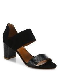 Aquatalia Suzanne Suede Snake Embossed Leather Block Heel Sandals
