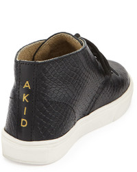 Akid Childrens Shoes Knight Snake Embossed High Top Sneaker Blackwhite Toddleryouth