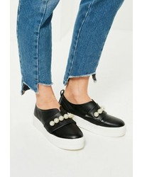 Missguided Black Pearl Detail Contrast Sole Sneakers