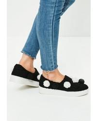 Missguided Black Pom Pom Flatform Sneakers