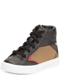 Burberry Haypark Mini Check High Top Sneaker Blacktan Toddleryouth Sizes 10t 4y
