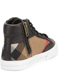 Burberry Haypark Mini Check High Top Sneakers Blacktan Toddleryouth Sizes 10t 4y