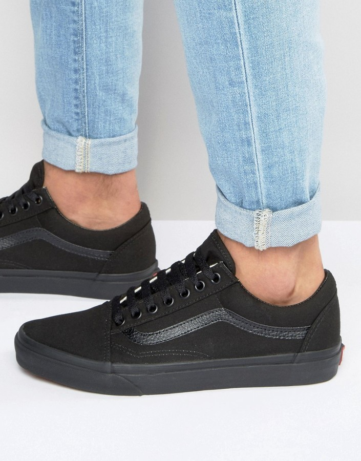 all black + vans old skool | my style | Black vans, All