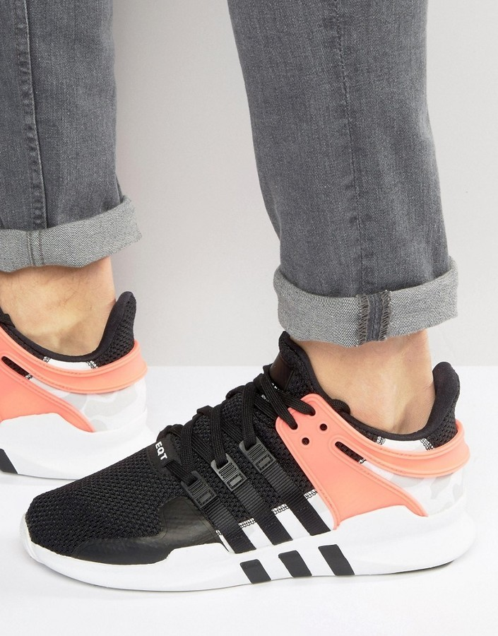 hot sale online a79ee a5495 clearance adidas originals eqt support advance sneakers in black ba7719  ef0bb c1359