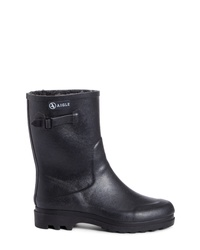 Aigle Icare Waterproof Rubber Ankle Boot With Faux