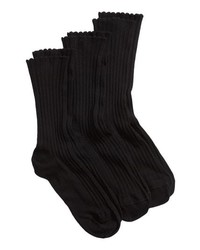 Hue 3 Pack Scalloped Rib Socks
