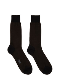 Tom Ford Black And Brown Cotton Herringbone Socks