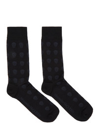 Alexander McQueen Black And Grey Skull Socks