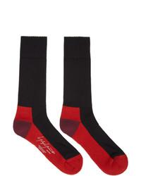 Yohji Yamamoto Black And Red Pile Socks